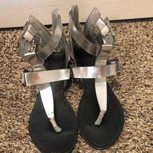 Silver boho sandals